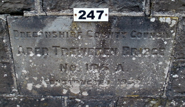 Engraved stone recording the opening of Aber Treweren Bridge