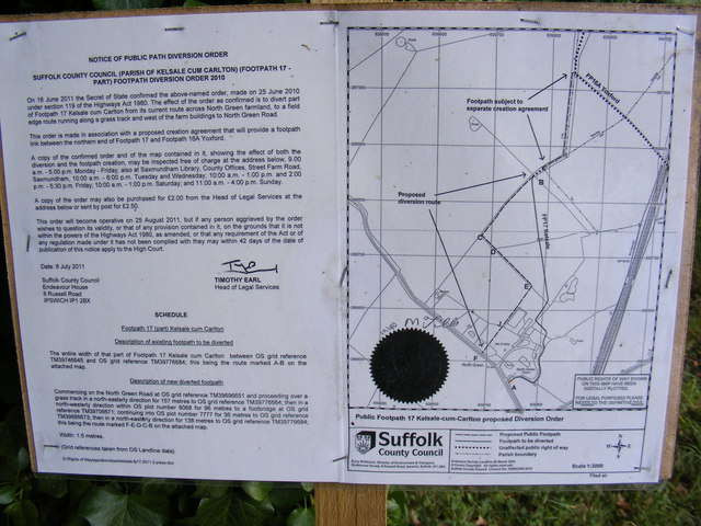 Footpath amendment Notice on Kelsale footpath No.17