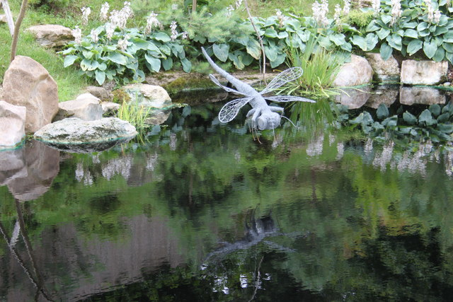 Dragonfly sculpture in the Japanese garden, Kingston Lacy