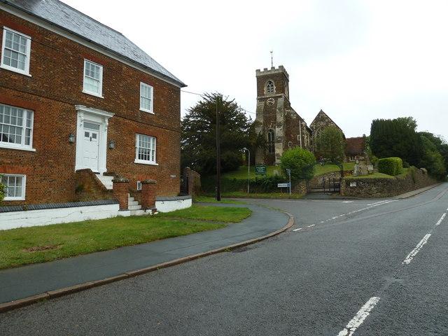Looking along Watling Street towards St Mary Magdalen, Little Brickhill