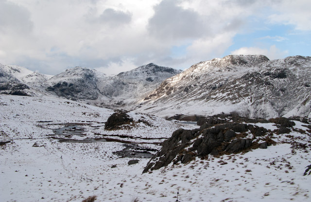 Snowed and frozen tarns feeding Great Gill