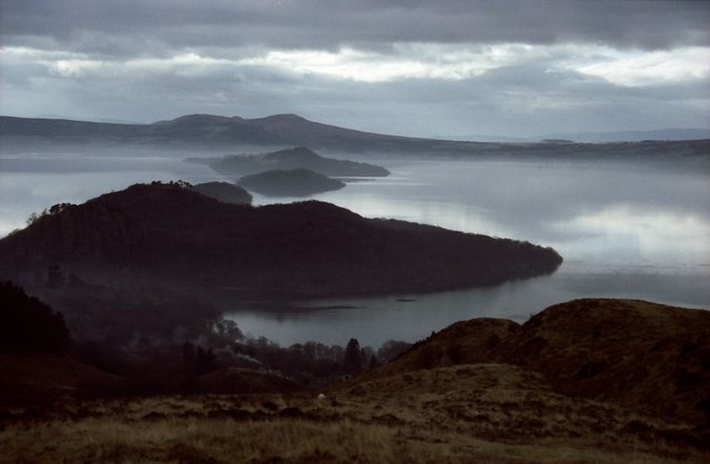 Looking down the slopes of Conic Hill