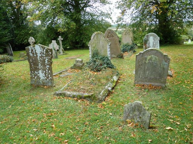Gravestones in the churchyard at St Nicholas, Hockliffe