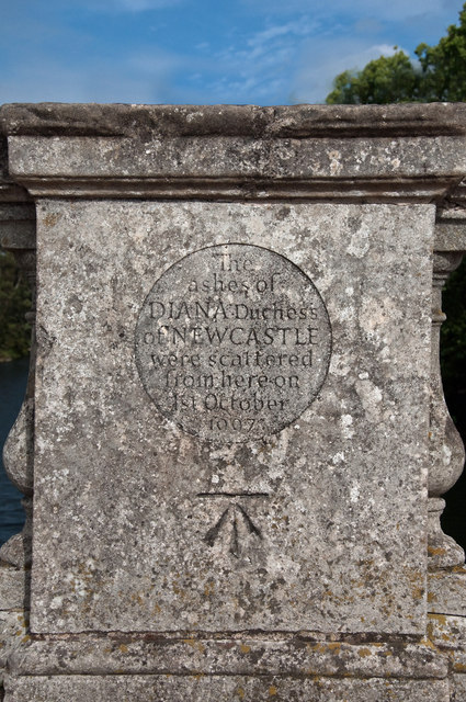 Bench mark and memorial inscription - Clumber Park bridge