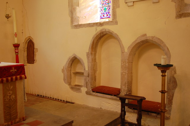 Sedilia, Piscina and Aumbry at Peasmarsh Church