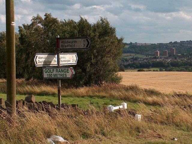 Signpost on Long Lane opposite Myers Lane junction