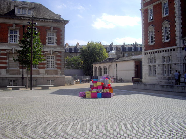 A pile of parcels in Chelsea College of Art and Design Courtyard