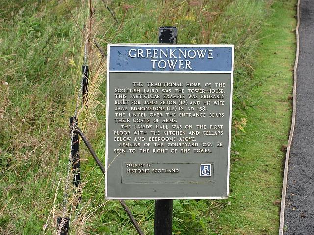 Historic Scotland sign, Greenknowe Tower