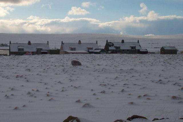 Spring Park Road, Baltasound, in the snow