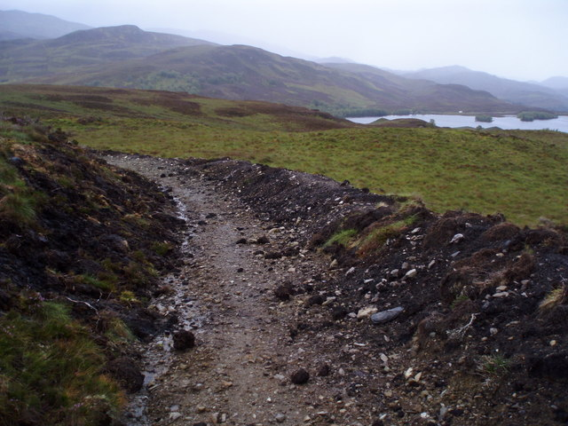 Now path on moorland above Loch Tarff