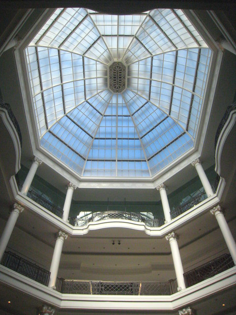 The dome over the atrium in Whiteleys shopping centre Bayswater