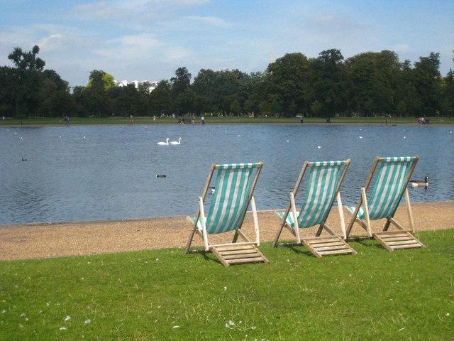 Deckchairs by the Round Pond in Kensington Gardens