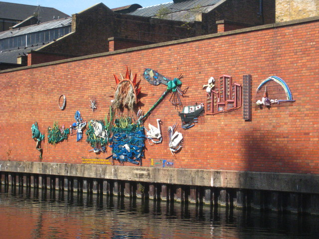 Artwork beside the Grand Union Canal at Westbourne Green