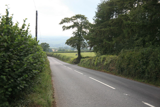 The A3072 looking towards Crediton