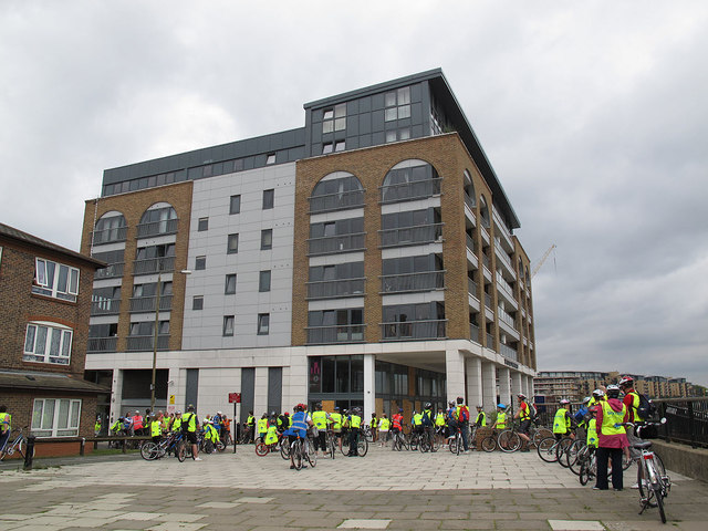 Cyclists gathering for the Skyride