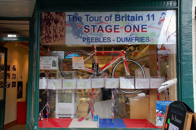 Window display, 2011 Tour of Britain Peebles