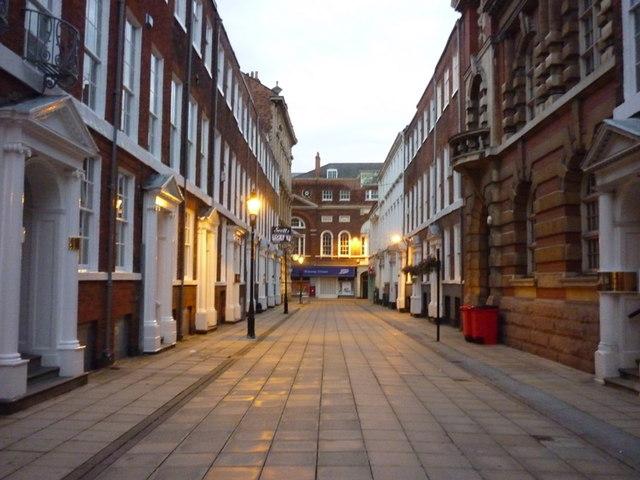 Parliament Street, Hull. At dusk