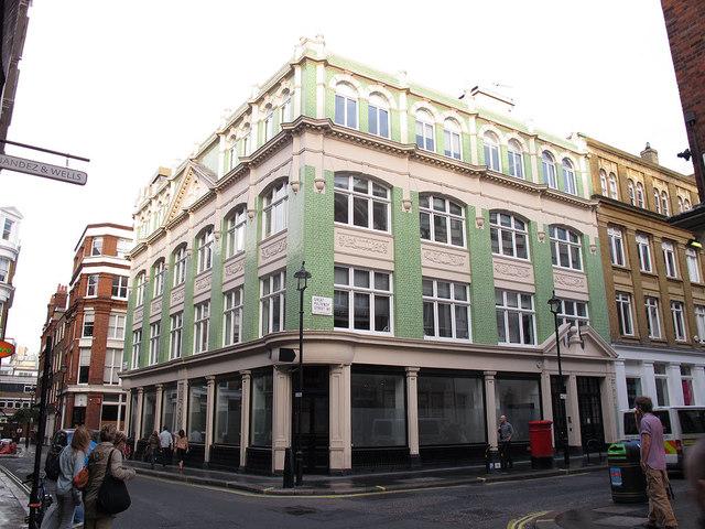 Green-tiled building on Beak Street