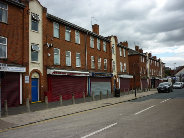 The shops on Caroline Street, Hull