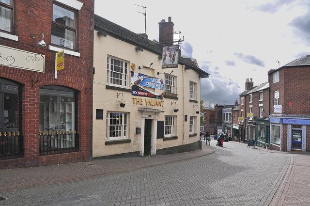 Stanley Street and The Valiant pub - Leek