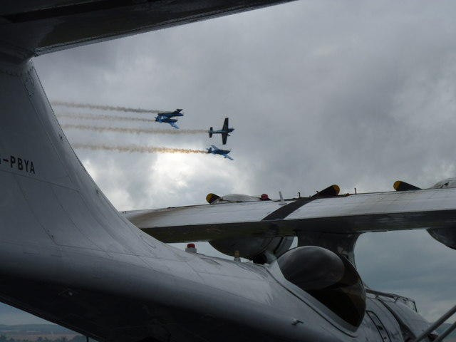 The Blades display team framed by a Catalina flying boat