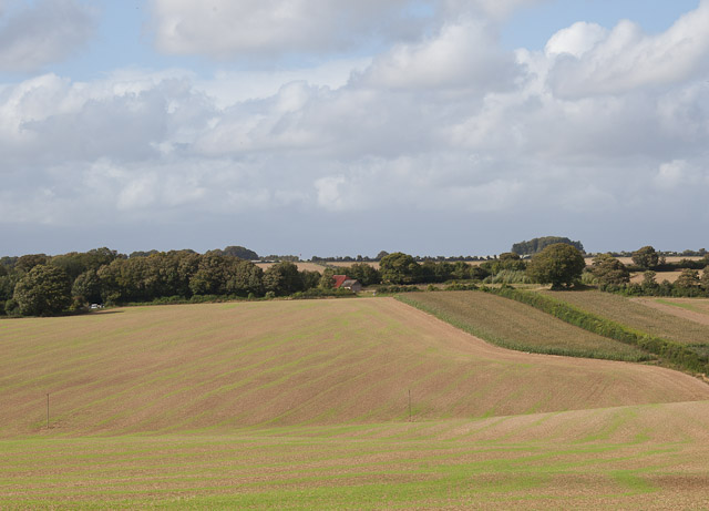 Looking across fields to Hydes Barn on Fawley Lane