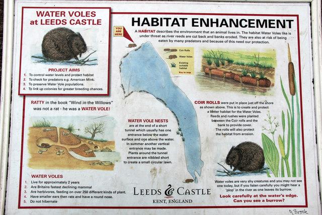 Information Board re Habitat Enhancement, Leeds Castle, Kent