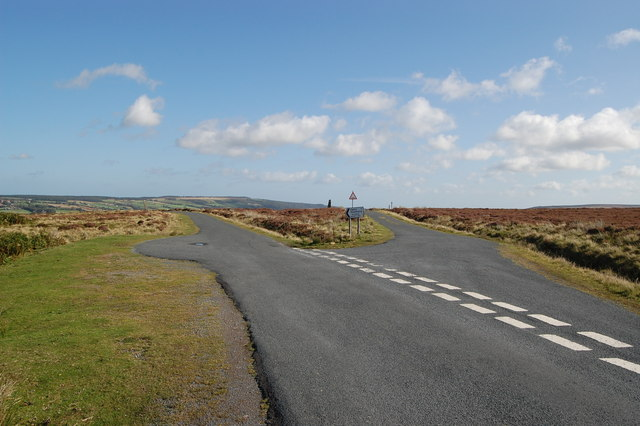 Road junction on the moors