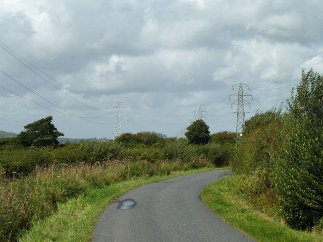 Langtye Lane between the power lines