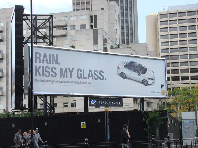 Rain Kiss my Glass advert near Blackfriars Bridge