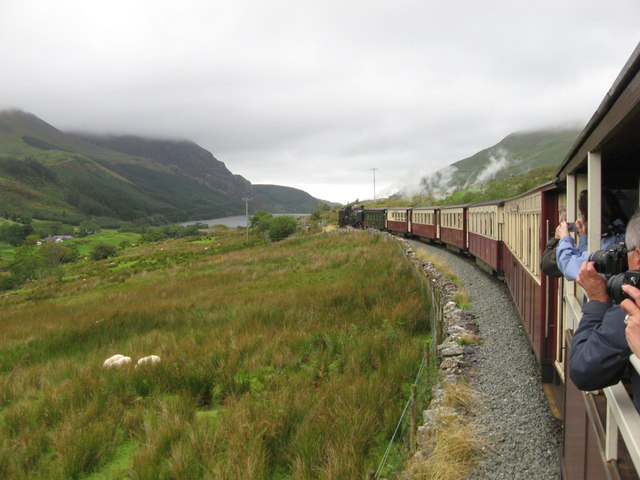 Welsh Highland Railway  above Clogwyn-y-gwin farm