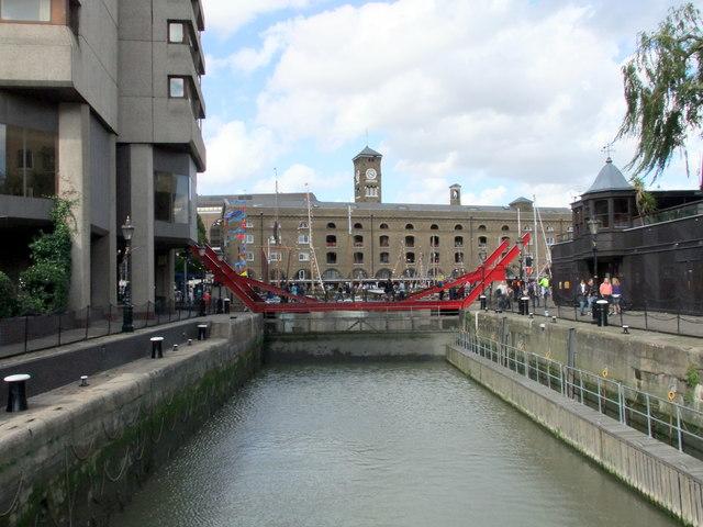 The lock at St Katharines Dock London