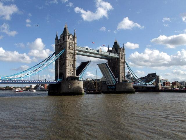 Thames Barge sailing under Tower Bridge