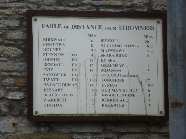 Stromness: distance chart to Orkney destinations