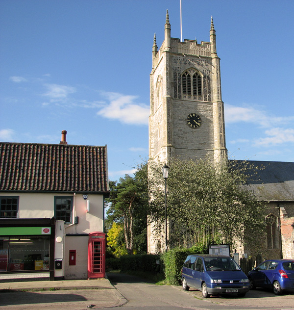 Church, shop and Post Office in Laxfield