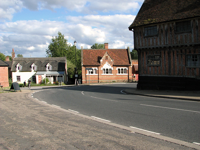 The B1117 road through Laxfield