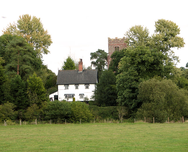 The White Cottage and St Peter's church, Ubbeston