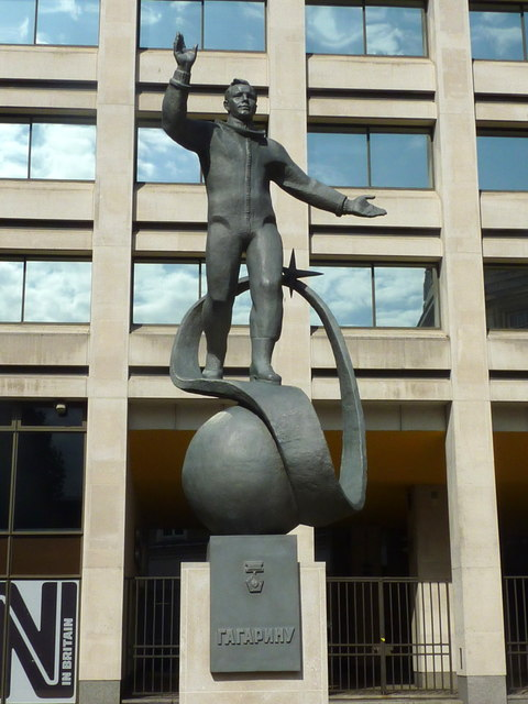 Statue of Yuri Gagarin outside the headquarters of the British Council
