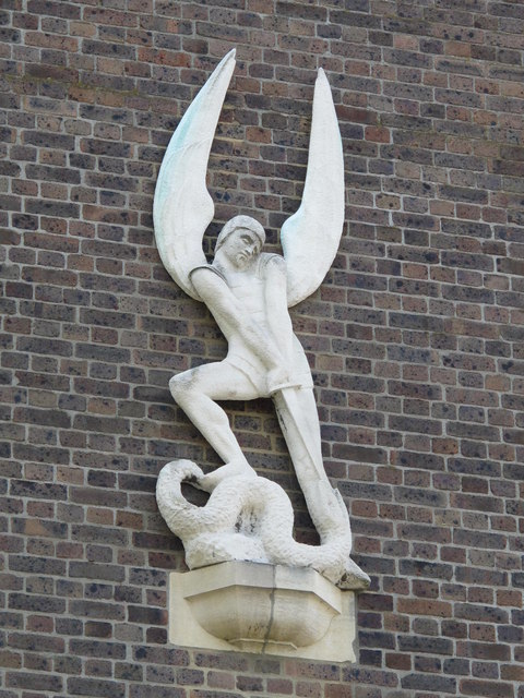 Greek Orthodox Cathedral of the Holy Cross and St. Michael, Golders Green Road (A502), NW11 - statue