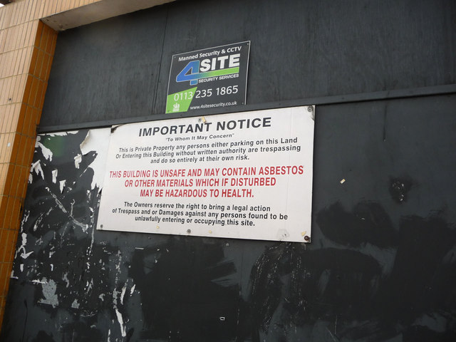 Warning notice outside the disused Odeon cinema, Bradford