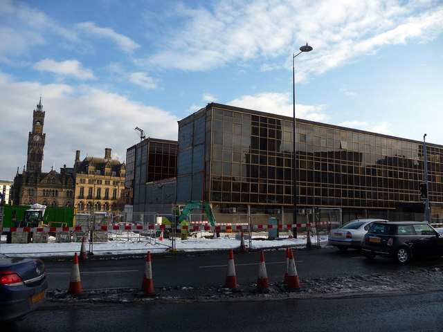 Partially demolished police headquarters, Bradford