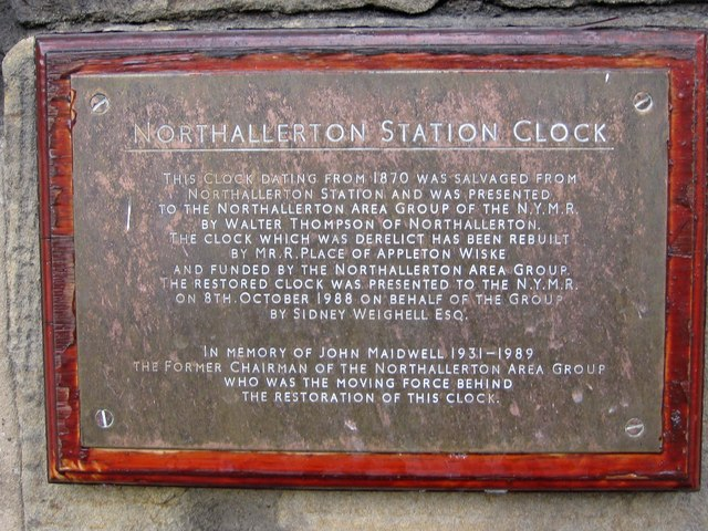 Information about the station clock at Grosmont