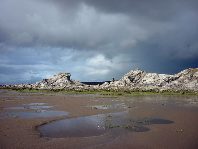 The slag outcrops above Warton Sands