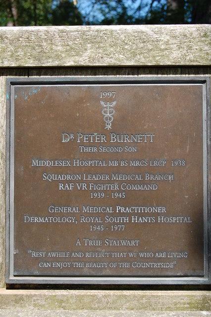 Memorial plaque on seat