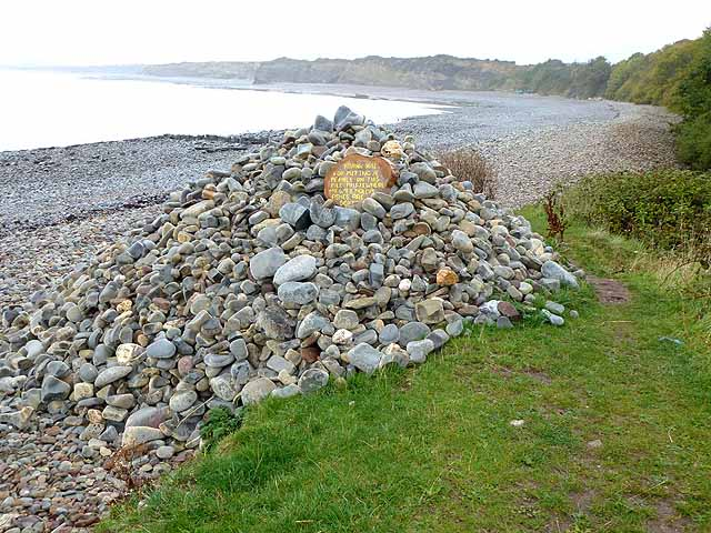 Memorial cairn at Lilstock Beach