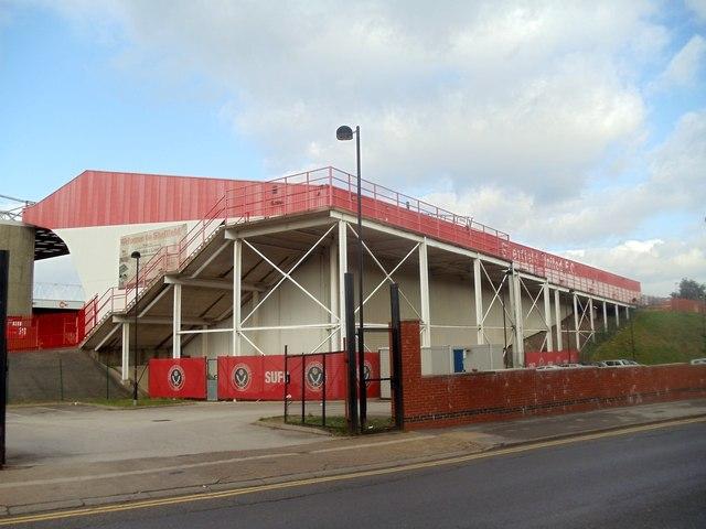 View of Bramall Lane Football ground from Shoreham Street