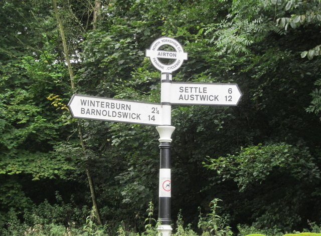 A traditional directional signpost
