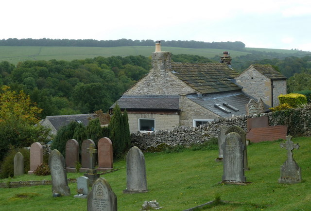 Churchyard and cottage overlooking Lathkill Dale