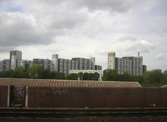 Blocks of flats in Battersea, from a train between Victoria and Clapham Junction