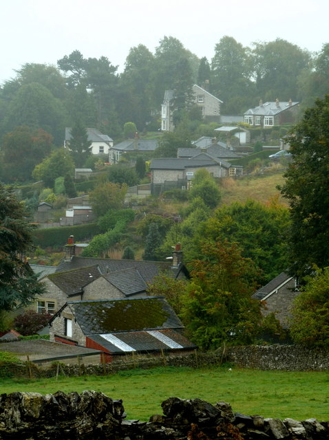 A corner of Bakewell on a misty morning